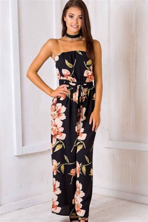Floral Print Strapless Jumpsuit black floral printed strapless tie waist wide leg