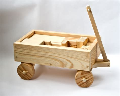 Handmade Wood Toys - handmade wooden wagon with blocks mike