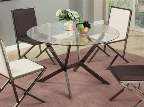 Modern Glass Dining Table by Beveled Edge Modern Glass Dining Table