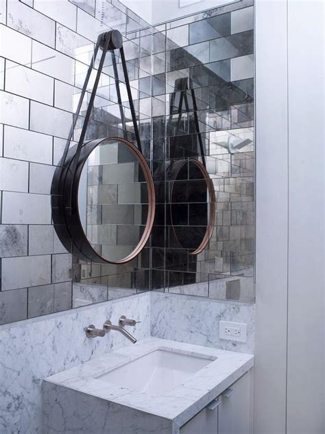 Mirror Tiles For Bathroom Walls Mirrored Subway Tiles Design Ideas