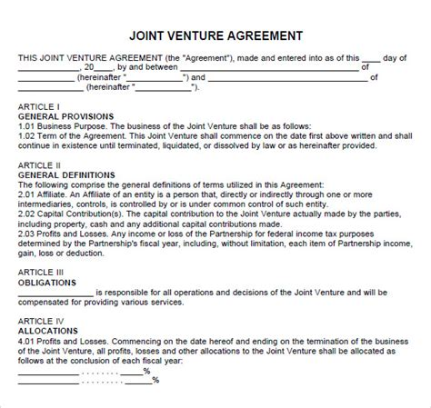 joint venture agreement joint venture agreement template
