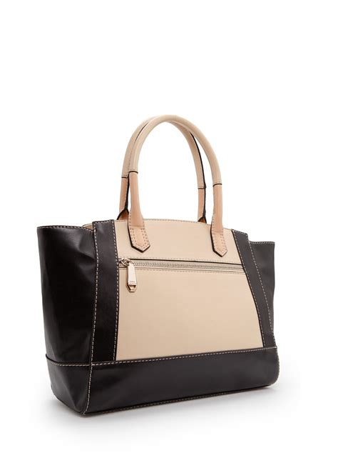 lyst mango touch color block tote bag in black