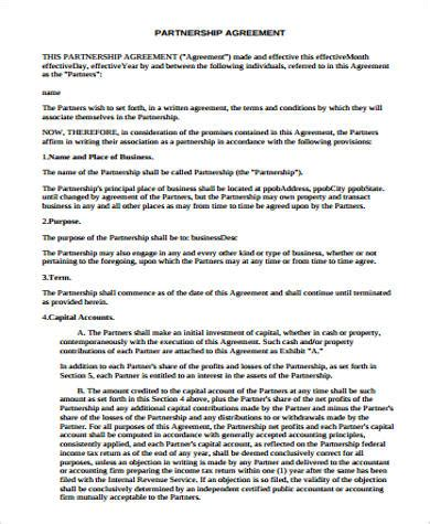 22 partnership agreement sles and templates pdf word