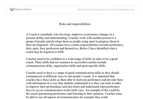 Coach Essay by Roles And Responsibilities Of A Spo
