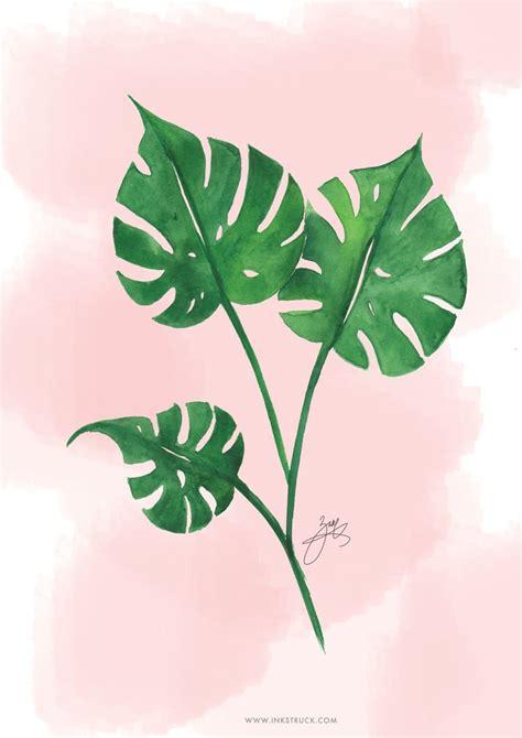 printable tropical leaves free watercolor tropical leaf printable inkstruck studio