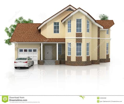 new 3d house isolated on white background 3d house isolated on white rendered generic stock