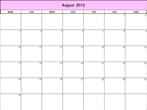 August 2015 Printable Calendar August 2015 Printable Blank Calendar Calendarprintables Net