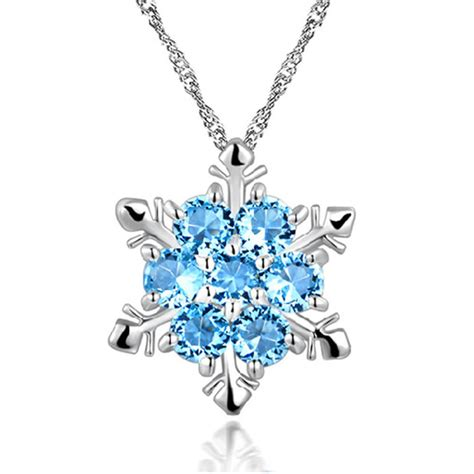 Swarovski Element Necklace sterling silver frozen snowflake swarovski elements