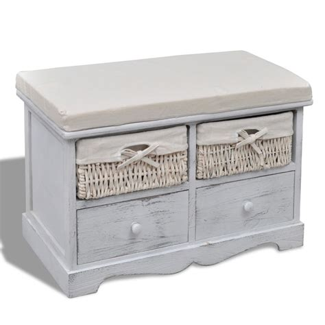 white bench with drawers white wooden storage bench 2 weaving baskets 2 drawers