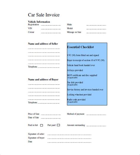 vehicle sales invoice template uk hardhost info