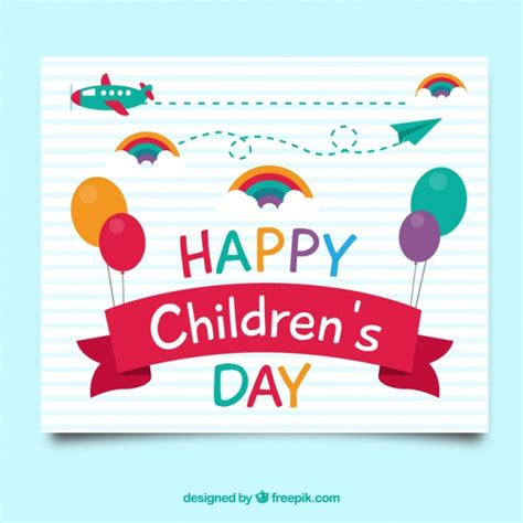 Children S Day Greeting Card Vector Free Download Card Templates For Children