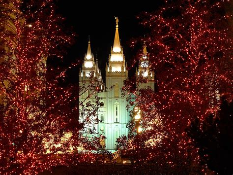 salt lake city temple square at christmas photograph by