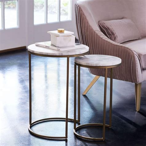 marble nesting coffee table nesting side tables set marble antique brass