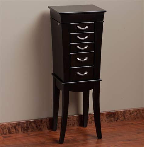 contemporary jewelry armoires eiffel black 5 drawer jewelry armoire contemporary