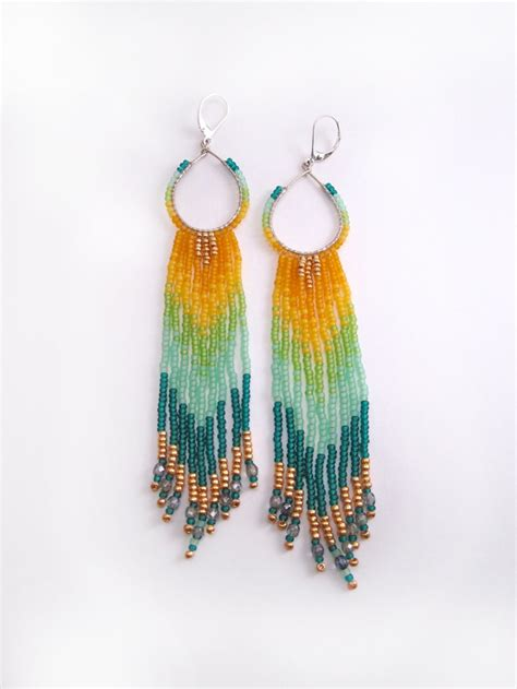 beaded fringe earrings hoop fringe beaded earrings shoulder dusters tribal