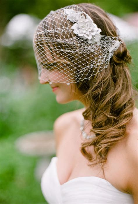 Half Up Wedding Hairstyles With Birdcage Veil by Half Up Hairstyle With Birdcage Veil Wedding Hairstyles