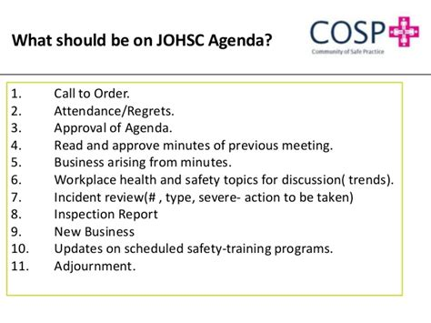 joint health and safety committee meeting minutes template joint occupational health and safety committee effectiveness