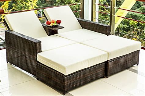 merax 3 pc outdoor patio furniture wicker sofa bed