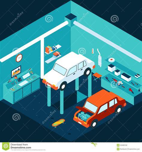 Garage Shop Floor Plans isometric 3d garage car repair stock vector image 52483192