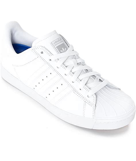adidas superstar vulc adv all white shoes womens at