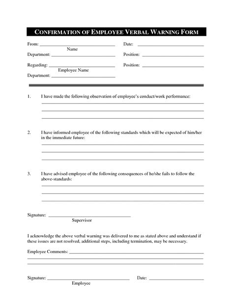 written warning template for attendance exle of verbal warning letter for attendance verbal