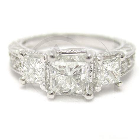 princess cut three antique style engagement