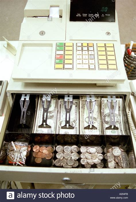 How To Open Register Drawer by Register With Open Money Drawer Stock Photo Royalty