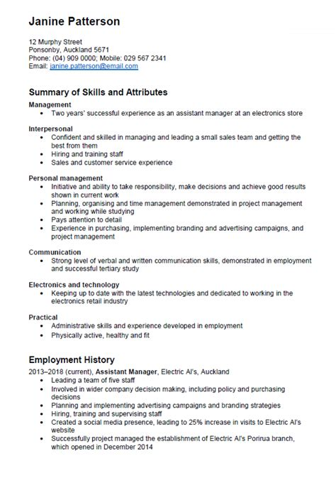 skills cv exle nz cv and cover letter templates