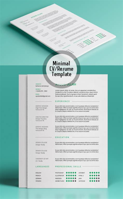 Resume Templates Minimalist Free Minimalistic Cv Resume Templates With Cover Letter Template Design Graphic Design Junction
