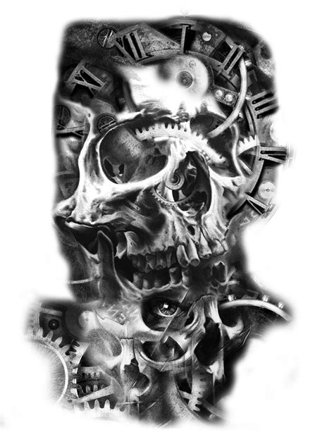 skull tattoo idea clock gears mechanical tattoo 欧美写实手稿