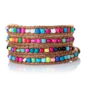 rhobh yolanda red leather wrap bracelet beaded leather wrap bracelet featuring chechmates two hole