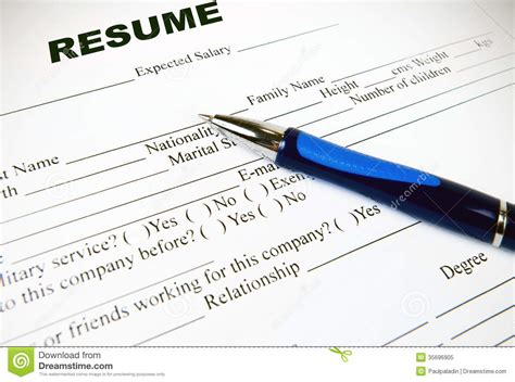 Resume Application Paper Application Paper Form Royalty Free Stock Photo Image
