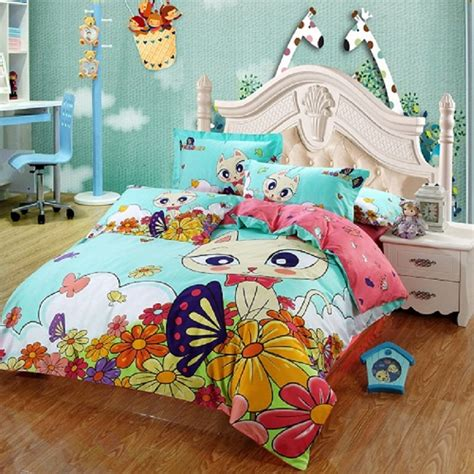 cat bed sheets 4 3 pcs 100 cotton kids girls cute cat cartoon bedding set king full queen bed sheet
