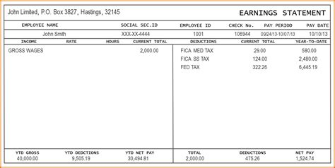 pay stub templates 8 check stub template authorizationletters org