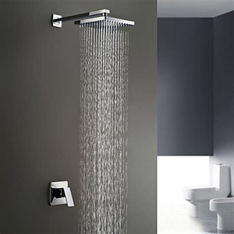 Chrome Finish Wall Mount Rain Single Handle Shower Faucet