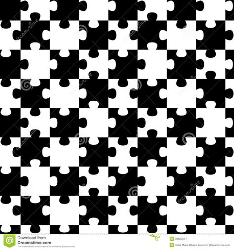 pattern of black and white squares crossword puzzle jigsaw puzzle pieces seamless background pattern stock