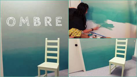 appealing ombre concept applied for diy wall painting at small sized bedroom which is decorated