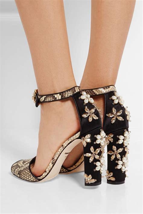 When Its Black Go For Something Embellished by Dolce Gabbana Embellished Python Sandals Dolce