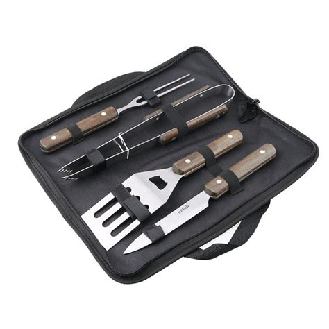 4pcs Stainless Scraper Set Black Dimension ᗚ1 set bbq grill stainless stainless steel barbecue set ᗖ with with storage outdoor