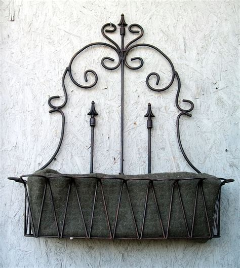 Wrought Iron 37 Quot Spear Fence Window Box Wall Planter Wrought Iron Wall Planters