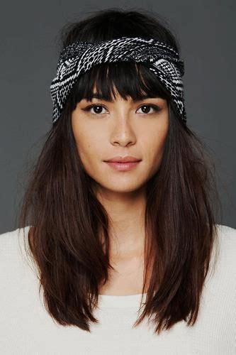 knitted head bangs styles thick hair headband hairstyles and fringes on pinterest