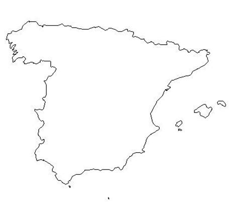 printable country shapes blank outline map of spain schools at look4