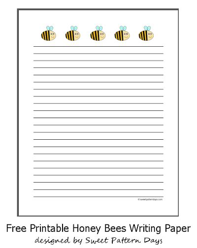 Cute Honey Bees Lined Writing Paper Teaching Pinterest Lined Writing Paper Handwriting Beekeeping Journal Template
