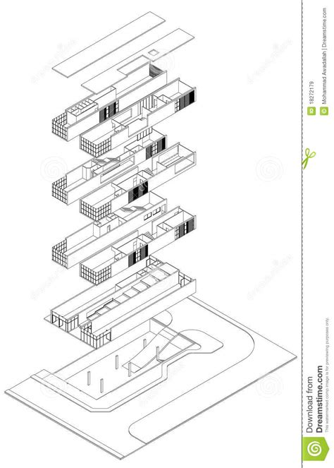 isometric floor plan exploded isometric drawing stock vector illustration of