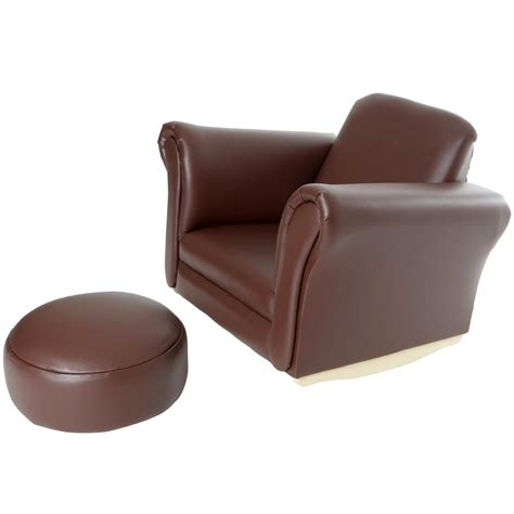 children s armchairs children s pu leather look comfy rocker rocking armchair chair seat footstool ebay