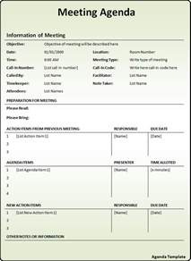 meeting agenda template free word s templates
