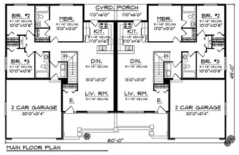 ranch duplex floor plans traditional ranch duplex home plan 89293ah 1st floor