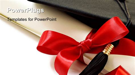 powerpoint template black graduation cap with ribbon