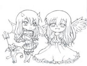 Twin Chibi Devil And An Angel By MyLeo On DeviantArt sketch template