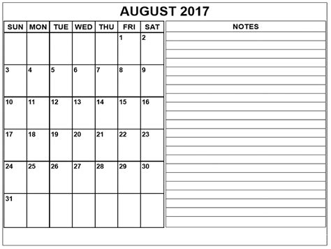 Calendar 2017 Printable With Notes August 2017 Calendar With Notes